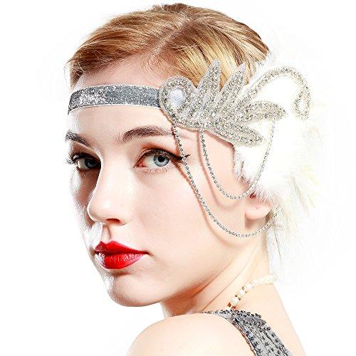 Babeyond fascia anni 20 gatsby flapper headband fascia charleston con piuma anni 20 fascia capelli gatsby cerchietto con piume bianco