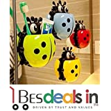 Cute Cartoon Insect Ladybird Shape Bathroom Wall Suction Hooks Sets Tooth Brush Container-1 Pc (Multi Colour)