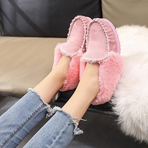 Fortuning's JDS Femmes Fille de l'hiver simple coiffer épissure de la fourrure Chaîne chaussures plates Épais chaussures de haricots Bottes de neige Rose