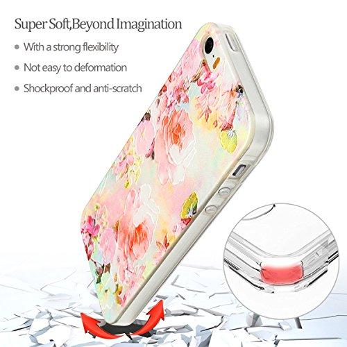 iphone 5s Hülle, E-Lush Mode Muster TPU Hülle für iphone 5s [Kratzfeste, Scratch-Resistant] Weiche Flexible Silikon Handyhülle Clear Transparent Tasche Ultra Dünne Schutzhülle Durchsichtig Rückschale  Rosa Rosen