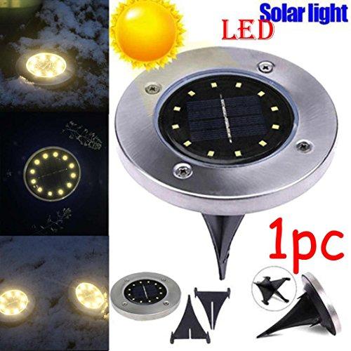 Solarleuchten,Jaminy Solar-Bodenleuchten Edelstahl Außenleuchte Wasserdicht 12 LED Draußen Weg Licht Spot Lampe Yard Garten Rasen Landschaft