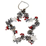 Weihnachtskranz Türkranz Stern Design mit Tannenzapfen Weiß mit Holz Sternen und Roten Beeren Ø 30cm