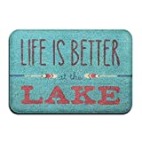 WENEOO LA Life is Better at The Lake Super Absorbent Anti-Slip Mat,Coral Carpet,Carpet Door Mat,Carpet,Carpet,Door Mat,40x60 cm