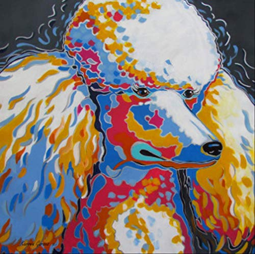 tytuoling DIY Digitale Malerei Ölgemälde Kunst Tier Pudel Hund Wanddekoration Wandkunst Leinwand Wohnzimmer Malerei Wandkunst Bilder Rahmenlose 50X50 cm -