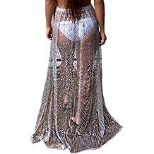 YAANCUN Mujer Rendijas Lentejuelas Perspectiva Elegante Maxi Falda Ropa De Playa Trajes De Baño