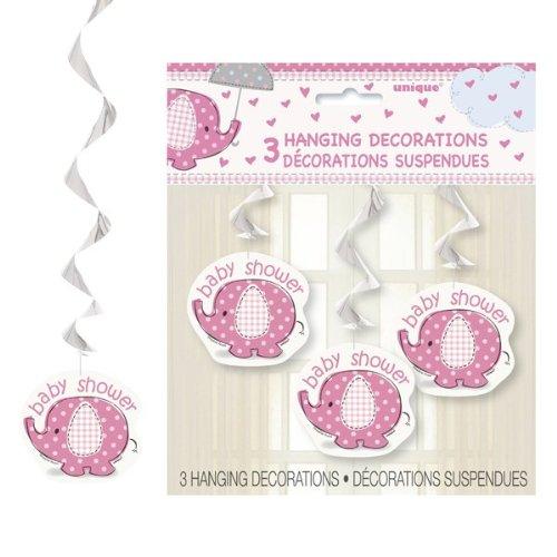 Umbrellaphants Pink hanging Baby Shower decorations pk3
