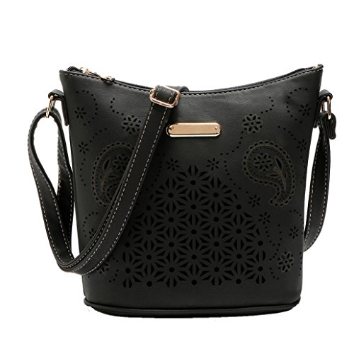 "Borse Donna , feiXIANG 2017 Donna in pelle borsa borsetta cross body Hollow out borsa Messenger Bag,PU,23*25*12cm/9.1*9.8*4.7"",Leggero, portatile e alla moda (Nero) Nero"