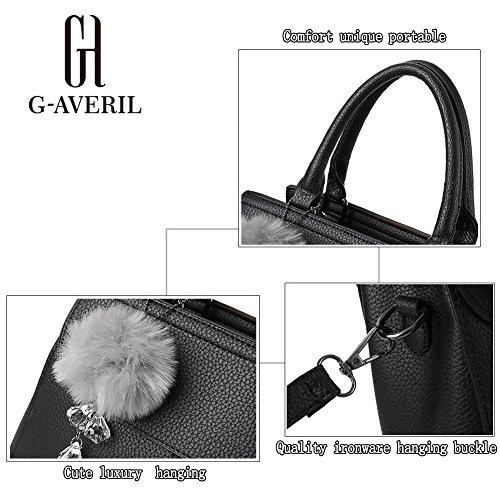 (G-AVERIL) 2018 Borsa a Mano Donna Tracolla Sacchetto Borse Tote Borsetta Sacchetta a Spalla grigio