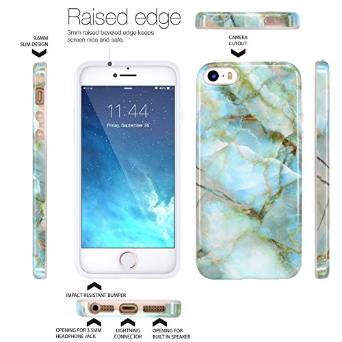 Coque iPhone 5 5S SE, JIAXIUFEN Silicone TPU Étui Housse Souple Antichoc Protecteur Cover Case - Shiny Rose Gold Gray Marbre Désign Jade Vert