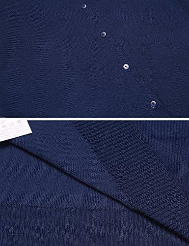 Finejo Damen Strickjacke mit Knöpfen Cardigan Feinstrick Strickcardigan Spitze Sweater Langarm Herbst Winter Navy Blau
