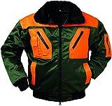 Qualitex Piloten-Jacke 4 in 1 - Kragenfutter und Ärmel abtrennbar - grün/orange - Größe: XL