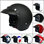 Leopard LEO-604 Open Face Helmet Scooter Motorcycle Motorbike Crash Helmet Road Legal Matt Black S