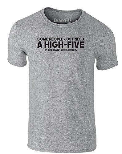 Brand88 - A High-Five, Erwachsene Gedrucktes T-Shirt Grau/Schwarz