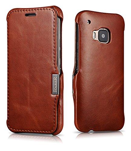 Luxus Tasche für HTC one M9 / Case Außenseite aus Echt-Leder / Innenseite aus Kunstleder / Modell: Luxury / Schutz-Hülle seitlich aufklappbar / ultra-slim Cover / Vintage Look / Farbe: Dunkel-Braun