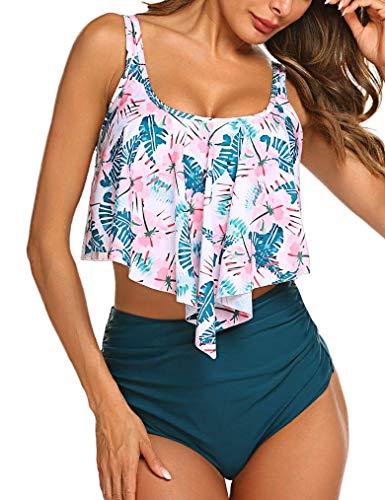 LaLaLa Damen Zweiteiler Strand Badeanzug Mode Boho Bikinis Beachwear Tank top Hoher Taille Bikinihose Green Large -