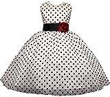 AGOGO Mädchen Polka Punkt Klassisch Kinder Kleider Festlich Brautjungfern Kleid Prinzessin Hochzeitskleid Party Kleid Tüll Abendkleid Chiffon Festzug Gr. 104 116 128 140 152 (104-110, Weiß)