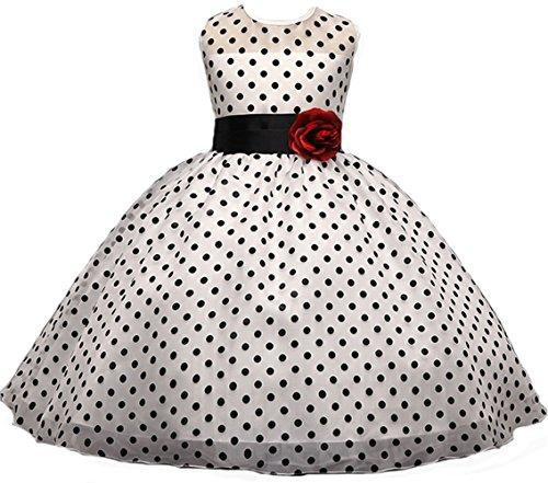 AGOGO Mädchen Polka Punkt Klassisch Kinder Kleider Festlich Brautjungfern Kleid Prinzessin Hochzeitskleid Party Kleid Tüll Abendkleid Chiffon Festzug Gr. 104 116 128 140 152 (150-152, Weiß)