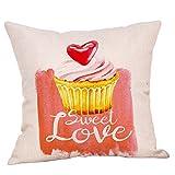 Taies d'oreiller de Lin carré 45x45cm, Malloom décor à la Maison Couverture Coussin Sofa Rose Doux Taies d'oreiller