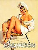 Badezimmer Pin Up Girl Sitzend Auf Stuhl Handtuch Retro Shabby Chic Vintage-Stil Bild Metall Wand Schild