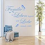 Wandschnörkel® Wandtattoo AA344 FAMILIE ist wo Leben beginnt...Spruch Schmetterlinge Wanddekoration Wandaufkleber Wohnzimmer Farbe./Größenauswahl Wandaufkleber