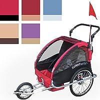 Infantastic FAH16 - Bicicleta con carro para llevar niños 2 en 1, adaptable para hacer footing, diferentes colores Rouge aurore