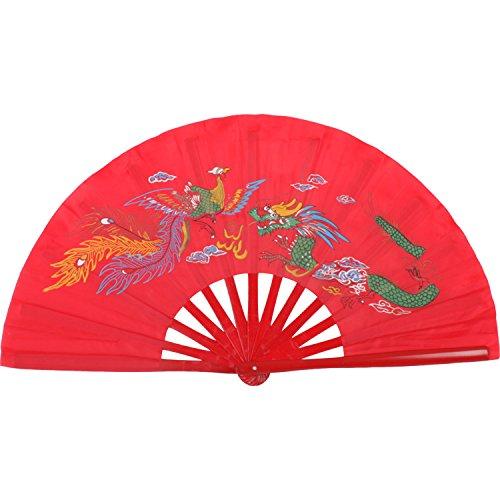 Abanico de madera de bambú, plegable, para artes marciales, diseño de dragón...