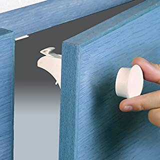 Magnetic cupboard locks - baby safety locks for child proofing your cabinets and drawers - NEW template for super easy installation and extra 3M adhesives in every box ! (8 locks, 2 keys)