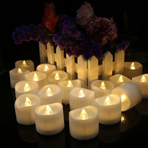 WINOMO 12pcs realista LED y brillante llama de LED de baterías de plástico envuelto por velas para la celebración de la fiesta de cumpleaños (luz blanca cálida caliente)