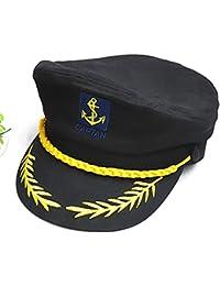 HSL yate barco marinero Capitán disfraz sombrero gorra azul marino admiral-black