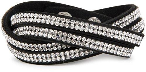 styleBREAKER weiches Strass Armband, eleganter Armschmuck mit Strassteinen, Wickelarmband, 2x2-Reihig, Damen 05040004, Farbe:Schwarz / Klar