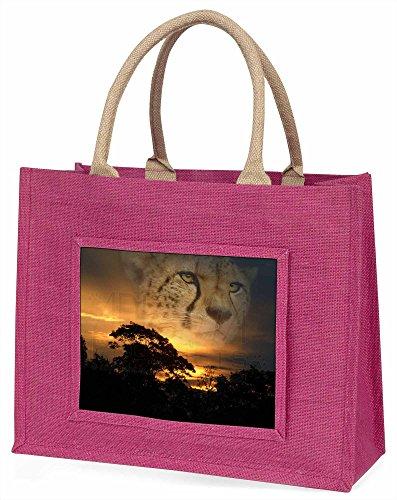 Cheetah -Uhr Große rosa Jute Einkaufstasche Weihnachtsgeschenk Cheetah Uhr