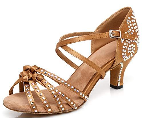 MINITOO UKGYYCL117, Damen Standard & Latein, Braun - Brown/Crystals-6cm Heel - Größe: 39 EU Crystal Heels
