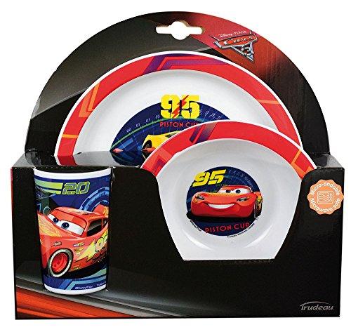 FUN HOUSE 005515 Disney Cars Ensemble Repas Contenant 1 Assiette, 1 Bol et 1 Verre pour Enfant Polypropylène Jaune 26.5x8.5x24.5 cm