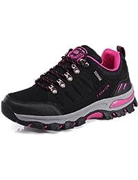 NEOKER Wanderschuhe Damen Herren Trekking Schuhe Outdoor Walkingschuhe Fitnessschuhe Schwarz Armeegrün 35-45 Grau + Pink 37