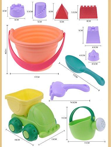 Minasan Sommer 11 Stück Kinder TPE Spielstabil Strandspielzeug Set Baby Mädchen Jungen Outdoor Spielhaus Burg Schaufel Rechen Eimer Sandspielzeug Sets(Zufällige Farbe)