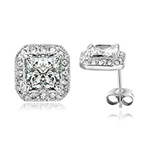 Yoursfs Sparkly Princess Cut Square Cubic Zirconia Stud Earrings for Women Silver Color Fashion Jewellery 18ct White Gold Plated Halo Earrings Wedding Gift
