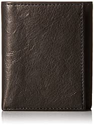Fossil Mens RFID Blocking Ingram Trifold Wallet, Black, One Size