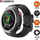 LEMFO LEM9, Double système Smartwatch 4G LTE Phone Android 7.1.1 1 Go + 16 Go Écran 1.39 Pouces Appareil Photo Avant 5MP Moniteur de fréquence Cardiaque de la Batterie, Podomètre, GPS, WiFi (Noir)