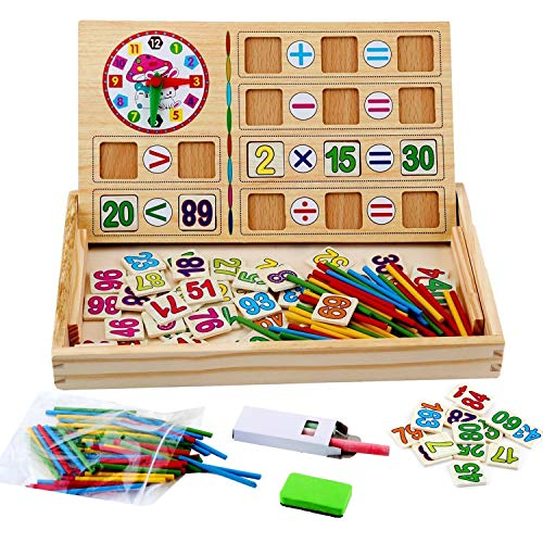 WINGLESCOUT 100 Piezas Puzzles de Madera, Puzzles Infantiles Rompecabezas Magnéticos de regletas matematicas Madera para 3 4 5 6 Niños (Número y Letra)
