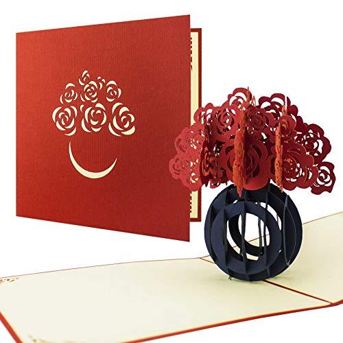 Blumenbouquet als Pop Up Karte, tolles Mitbringsel zur Hochzeit in rot, F08