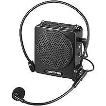 ammoon Amplificador de Voz con Micrófono TAKSTAR E180M 12W Recargable Portátil Multimedia Alámbrico Admite Tarjeta USB y TF Reproduciendo Música para Guías de Turismo Presentaciones de Maestros (Negro)