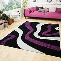 VIMODA Moderne Designer Teppiche Verschiedene Muster In Verschiedenen Farben  Lila Rot Grau Schwarz Weiss 60x110 Cm