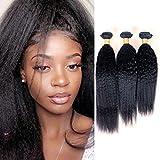 PURUN Tissage Bresilienne en Lot de 3 Kinky Straight Cheveux Humain Vierge Vrai Raide Mèches Naturelles Yaki Lisse 300g Bundles 16 18 20 pouces