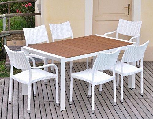 Tavolo da giardino per esterni in alluminio e polywood 6 posti kate