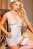Shirley of Hollywood Nummer 25235kleinen weiß/hellblau Stretch Lace Chemise Set