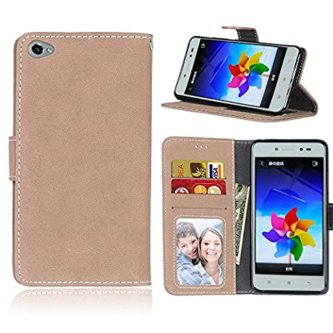Lenovo S90 (5,5 Zoll) Case,BONROY® Lenovo S90 (5,5 Zoll) Retro Matte Leather PU Phone Holster Case, Flip Folio Book Case, Wallet Cover with Stand Function, Card Slots Money Pouch Protective Leather Wallet Case for Lenovo S90 (5,5 Zoll)