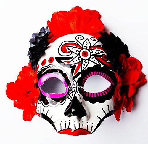 Schädel Toten Der Tag Kostüme (Tag Der Toten Halloween Kostüm Gesichtsmaske Blume Schädel Mexikanisch Weißer)