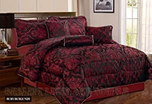 rubis 7 pi ces bordeaux double couvre lit matelass damass moderne jacquard luxury parure de. Black Bedroom Furniture Sets. Home Design Ideas