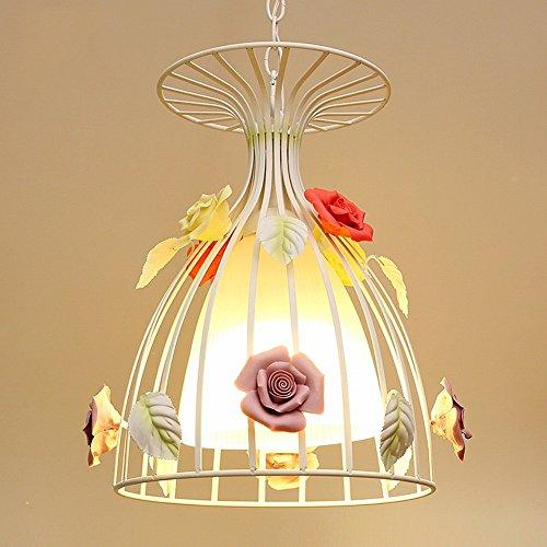 DHG Kronleuchter - pastoralen Restaurant Kronleuchter einzigen Schmiedeeisen romantische Blume Licht Bar Treppe Mädchen Zimmer kreative Blume Licht,Gemischte Blume,Im Bild