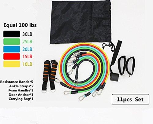 CFX Fitness Übungs Widerstand Flexband Set,Widerstand Bands-Set mit 5Fitnessgummi Schläuchen 2 x Griffen 1 x Türrahmenbefestigung 2 x Fußbefestigung 1 x Aufbewahrungsbeutel (Schlauch-griff)